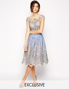 Enlarge Chi Chi London Premium Metallic Lace Prom Dress with Bardot Neck