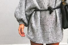 Oversized grey sweater with harnessed with a thin, black leather belt. {Follow @Jessica Grinsteinner Barley on Twitter & Instagram}