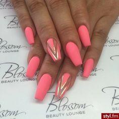 Ballerina Nails. Summer Nails. Matte Nails. Acrylic Nails. Neon Orange Nails.