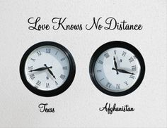 Love knows no distance wall clock decals for deployment or long distance relationship
