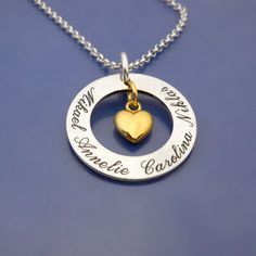 #familynecklace Sterling silver & 18ct gold. #namnsmycken