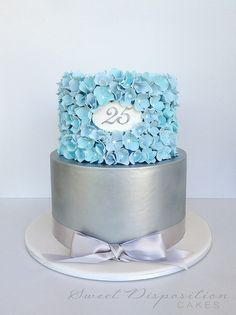 25th Anniversary Cake with blue sugar hydrangeas and brushed silver tier by Sweet Disposition Cakes