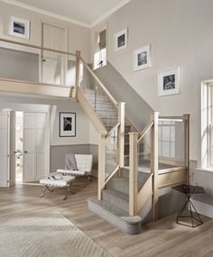 Contemporary Glass Staircase Design – Neville Johnson - Annette Home Staircase Design Modern, Timber Staircase, House Staircase, Stair Railing Design, Home Stairs Design, Staircase Railings, Bannister, Staircase Ideas, Glass Stair Railing