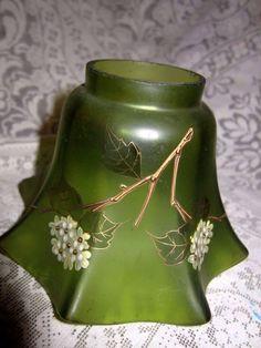Art+nouveau+français+abat-jour+en+verre/vert+émeraude+|+eBay