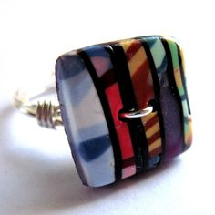 Button Ring Wire Wrapped Unisex Boho Hippy by gimmethatthing, £9.75