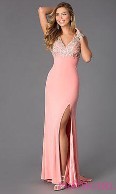 Floor Length Sleeveless V-Neck Prom Dress at PromGirl.com