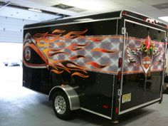 enclosed 7 x 12 double motorcycle trailer with harley davidson