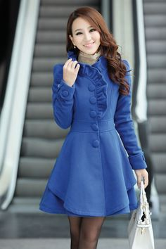 Wool Thick Jacket Coat Outwear in Blue