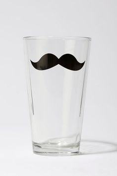 Urban Outfitters Monsieur Mustache Pint glasses...fill with milk for an instant milk mustache!