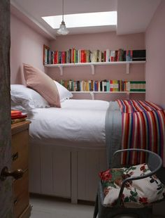 Install some neat shelving in a small bedroom - Farrow and Ball