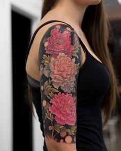 Peony tattoo by mikhail anderson Gardening Go Tattoos Tattoos, Peonies tattoo, Sleeve tattoos Pretty Tattoos, Beautiful Tattoos, Cool Tattoos, Tatoos, Tattoo Designs, Floral Tattoo Design, Floral Design, Et Tattoo, Cover Tattoo