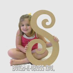 Unfinished Letters Curlz Paintable Large Letter 24'' Wall Decor (S). $7.25, via Etsy.