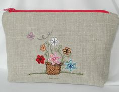 Zipped linen pouch with free motion stitched by TilleyMay on Etsy