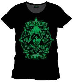 Camiseta arquero esmeralda Flecha Verde. Arrow. DC Cómics Estupenda camiseta de color verde del arquero esmeralda, 100% oficial y licenciada del protagonista Flecha Verde (Arrow) visto en los los exitosos Dc Cómics.