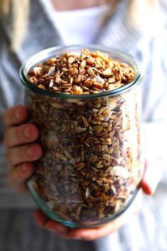 LOVE this healthy homemade granola recipe! It's easy to make, naturally sweetened with (minimal!) maple syrup
