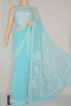 Light blue Hand Embroidered Work Lucknowi Chikankari Saree (With Blouse - Georgette)- MC60014