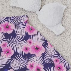 Pink and purple tropical skirt Very cute pink and purple tropical VS skirt PINK Victoria's Secret Skirts Mini