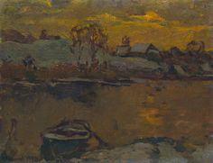 Winter evening on the river Msta by Vasiliy Belikov now featured on ArtDealer