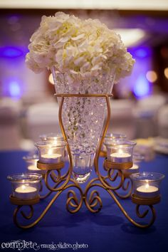 Crystal vase Indian reception centerpiece via IndianWeddingSite.com