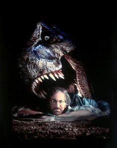 jurassic park Steven Spielberg in front with T-Rex head at back Michael Crichton, Martin Scorsese, Stanley Kubrick, Alfred Hitchcock, Indiana Jones, Cincinnati, Jurassic Park 3, Jurassic Movies, Thriller