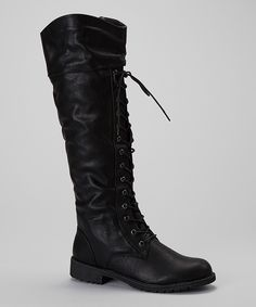 Another great find on #zulily! Nature Breeze Black Lug Flat Boot by Nature Breeze #zulilyfinds