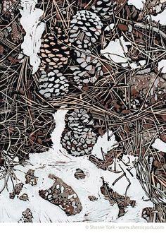 Midwinter Debris Reduction linocut by Sherrie York. http://www.sherrieyork.com/ Tags: Linocut, Cut, Print, Linoleum, Lino, Carving, Block, Woodcut, Helen Elstone, Nature, Ground, Underfoot