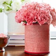 burlap-wrapped flower vases