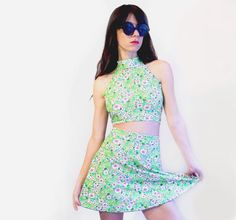 Lime Floral TWIN SET Sleeveless Turtle Neck by HomeCookedKarma