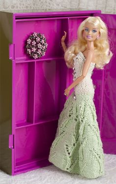 Knitted gown for Barbie with beads. I want to learn to add beads.