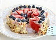 Healthy Watermelon Tart-A light and healthy dessert made from watermelon, yogurt, and berries.