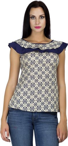 PrettyPataka Casual, Party Short Sleeve Floral Print Women's Blue Top