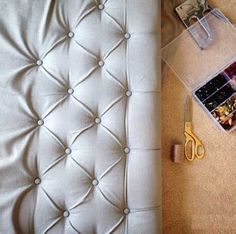 Great tutorial on How To Make A Diamond Tufted Headboard - Before After DIY Diy Tufted Headboard, Leather Headboard, Diy Headboards, Headboard Decor, Furniture Makeover, Diy Furniture, Furniture Design, Home Crafts, Diy Home Decor
