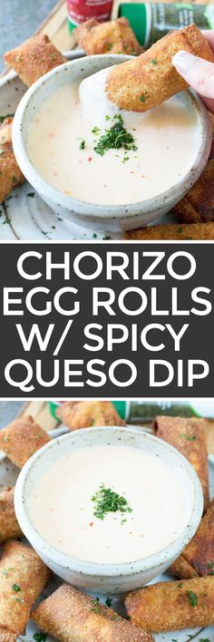 Chorizo Egg Rolls with Spicy Queso Dipping Sauce – Cake 'n Knife