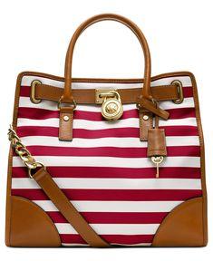 MICHAEL Michael Kors Handbag, Hamilton Large Stripe North South Tote - MICHAEL Michael Kors - Handbags  Accessories - Macy's