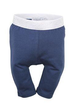 Blauwe meisjes legging van het kinderkleding merk Dirkje babywear. Effen donker blauwe driekwart legging broekje, met een zilveren elastische tailleband.