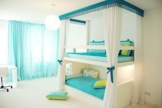 Cool Bedroom Decorating Ideas for Teenage Girls with Bunk ...  I like this idea for little kids. That way the top bunk isn't too high. Less of a risk of dangerous injuries to the child on the top bunk, plus you can reach to place them up there yourself, if they have fallen asleep on the couch or something.