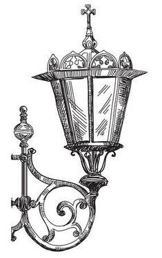 Hand drawing isolated illustration of old street lamp.