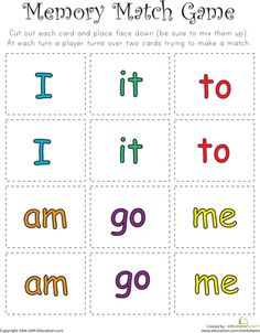I am in LOVE with this website!!! SO many fun worksheets for all grade levels!!!   Worksheets: Match Game: Sight Word Memory Match