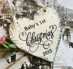 Baby's 1st CHRISTMAS ORNAMENT  Heart by thebackporchshoppe on Etsy