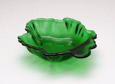 Emerald Green Anchor Hocking Maple Leaf Shape Dish by GBCsLegacies