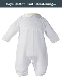 Boys Cotton Knit Christening Outfit Christening Baptism Romper 12M. A beautiful but masculine baby coverall suitable for boys christening or everyday dresswear. Long sleeve with a rib pattern across the bodice. Sleeves and pant legs have 1 row of rib pattern. The 100% mercerized cotton knit is exquisitely finished to provide a soft, comfortable and stylish outfit. Available in sizes: 3,6, and 12 month. Imported. Shipped on plastic hanger in poly bag. --- About Little Things Mean a Lot...