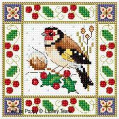 Oiseaux de Noëlgrille point de croixcréation Lesley Teare