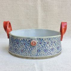 Bahia Art:  Oval handmade bowl.  Pattern impressed, colour wash with clear glaze.