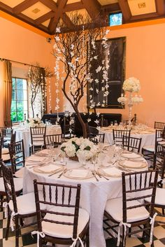 Elegant centerpiece at the Deering Estate's Stone House Ballroom