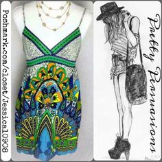 Forever 21 Spaghetti Strap Empire Waist Dress Absolutely stunning & bold boho mini dress/tunic featuring a stunning print with bright colors, adjustable spaghetti straps, plunging neckline & super soft material. Forever 21 Dresses