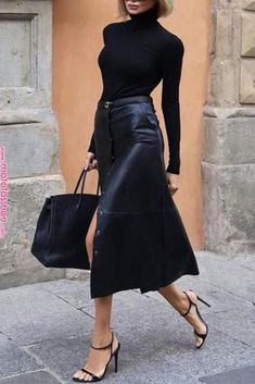 black outfit / Street style fashion / fashion week week All black outfit / Street style fashion / fashion week week fall style inspo Click product to zoom Black On Black On Black FASHIONED Mode Outfits, Stylish Outfits, Fashion Outfits, Womens Fashion, Fashion Tips, Style Fashion, Skirt Fashion, Fashion Trends, Classic Fashion