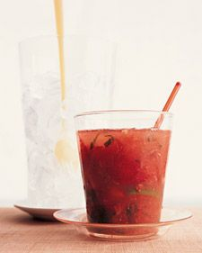 Strawberry-Ginger Caipirosca  10 fresh strawberries, hulled and quartered 30 fresh mint leaves 1/4 lime, cut into 4 pieces 1 teaspoon freshly grated ginger 2 tablespoons sugar 2 cups cracked ice 1/2 cup vodka