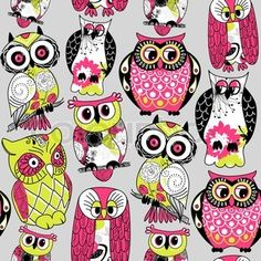 Stock Vector Illustration: Seamless and colourful owl pattern stock vector