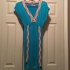 Teal cotton dress Teal cotton dress with multi color belt accent Zara Dresses Midi
