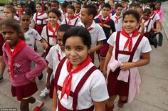 These school children wear red scarves, which is a signature accessory among the socialist...